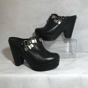 Bernardo Black Leather Wool Lined Platform Clogs 7